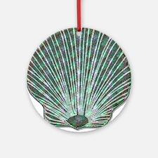 Blue-green Scallop Shell Ornament (Round)