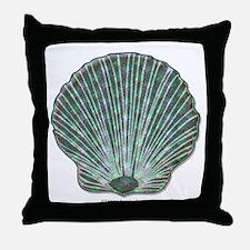 Blue-green Scallop Shell Throw Pillow