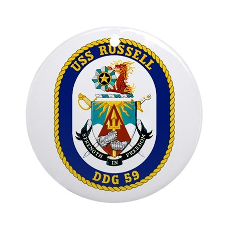 USS Russell DDG 59 Ornament (Round)