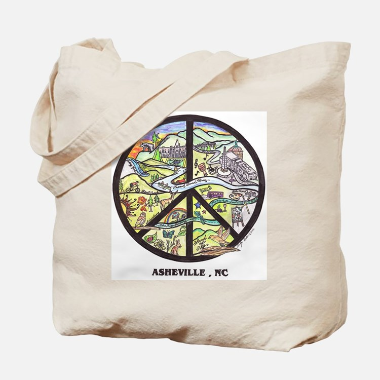 Super Groovy Asheville Peace Sign Art Tote Bag