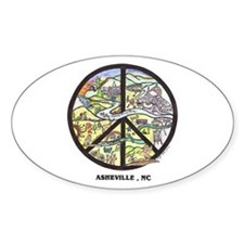 Peace Asheville Oval Bumper Stickers