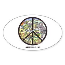 Peace Asheville Oval Decal