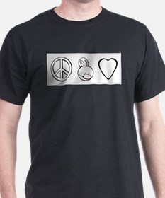 peace, love. mama milk Black T-Shirt