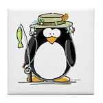 Fishing penguin Tile Coaster
