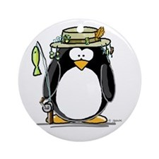 Fishing penguin Ornament (Round)