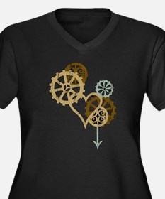 Steampunk Love Women's Plus Size V-Neck Dark T-Shi