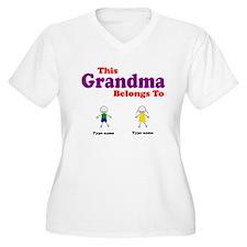This Grandma Belongs 2 Two Women's Plus Size V-Nec
