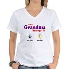 This Grandma Belongs 2 Two Women's V-Neck T-Shirt