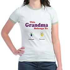 This Grandma Belongs 2 Two Jr. Ringer T-Shirt
