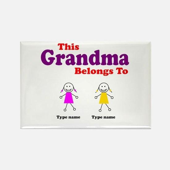 This Grandma Belongs 2 Two Rectangle Magnet