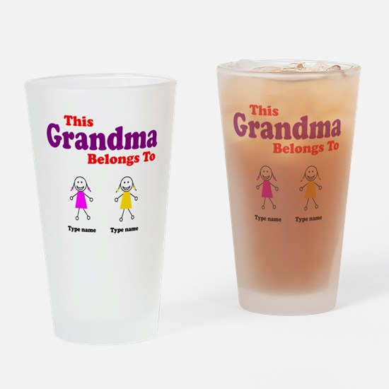 This Grandma Belongs 2 Two Drinking Glass