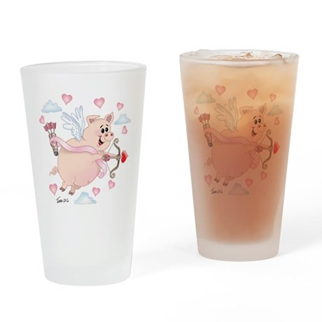 Flying cupid Piggy Valentine's Day Drinking Glass
