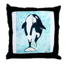 Kissing Orca Throw Pillow