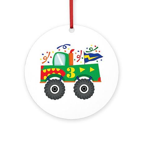 3rd Birthday Monster Truck Ornament (Round)