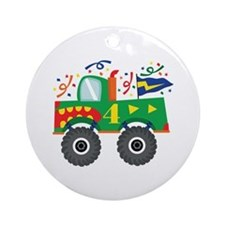 4th Birthday Monster Truck Ornament (Round)