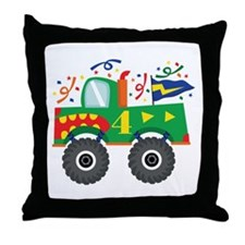 4th Birthday Monster Truck Throw Pillow