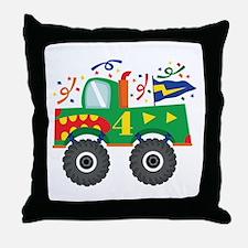 4th Birthday Monster Truck Throw Pillow