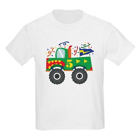 5th Birthday Monster Truck Kids Light T-Shirt