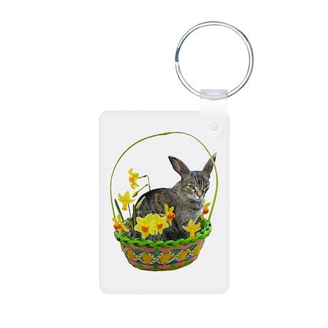 Easter Bunny Cat Daffodils Aluminum Photo Keychain