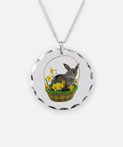 Easter Bunny Cat Daffodils Necklace