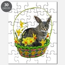 Easter Bunny Cat Daffodils Puzzle