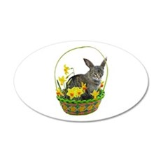 Easter Bunny Cat Daffodils Wall Decal