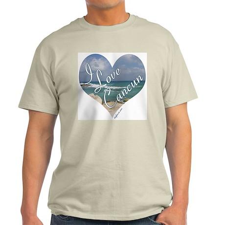 I Love Cancun Heart Ash Grey T-Shirt