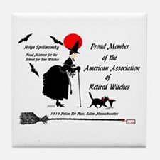 Cute Witch%27s broom moon Tile Coaster