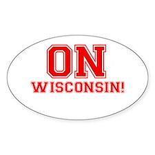 On Wisconsin Sticker (Oval)
