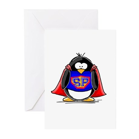 Superhero penguin Greeting Cards (Pk of 10)