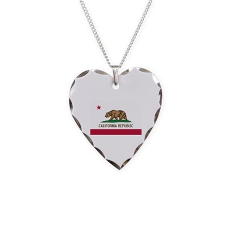 California State Flag Necklace Heart Charm