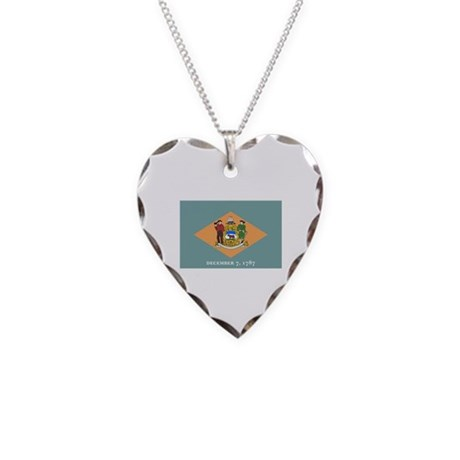 Delaware State Flag Necklace Heart Charm