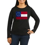 Georgia State Flag Women's Long Sleeve Dark T-Shir