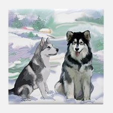 Alaskan Malamute Winter Tile Coaster