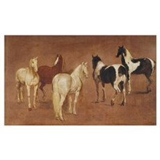 Study of Five Horses (oil on canvas) Poster