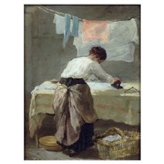 Woman Ironing (oil on canvas) Framed Print