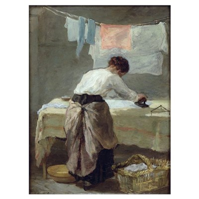 Woman Ironing (oil on canvas) Poster