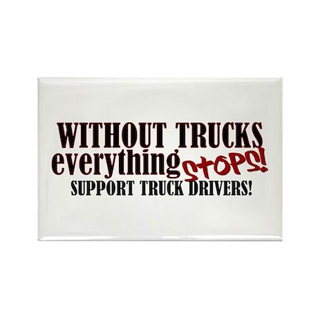 Trucker Support Rectangle Magnet