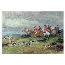 Fox Hunting in Surrey, 19th century (watercolour) Canvas Art