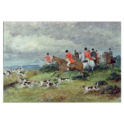 Fox Hunting in Surrey, 19th century (watercolour) Poster