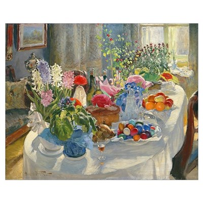 Easter Table (oil on canvas) Poster