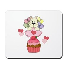 Cupcake Puppy Valentines Mousepad