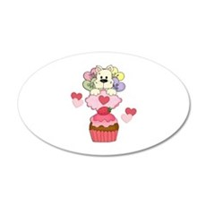 Cupcake Puppy Valentines 22x14 Oval Wall Peel