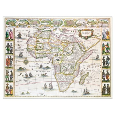 Africa Nova, c.1617 (colour engraving) Poster