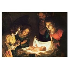 Adoration of the baby, c.1620 (oil on canvas) Poster