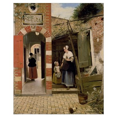 Courtyard of a house in Delft, 1658 (oil on canvas Framed Print