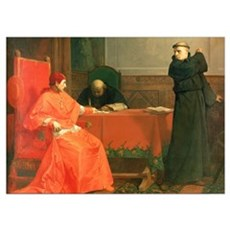 Luther in front of Cardinal Cajetan during the con Poster