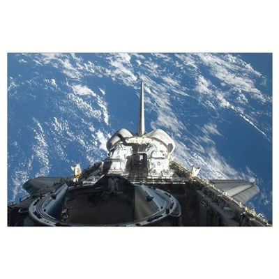A partial view of Space Shuttle Atlantis backdropp Poster