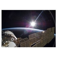 The International Space Station backdropped by the
