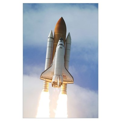 Space Shuttle Atlantis lifts off from Kennedy Spac Poster